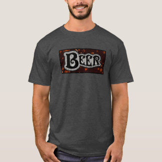Beer Logo - Red/Black Texture Look T-Shirt