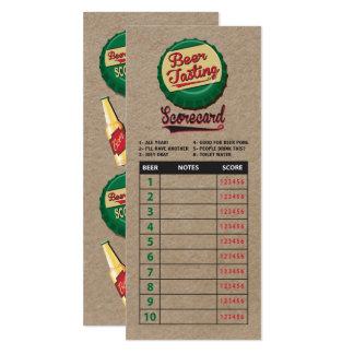 Beer lovers tasting scorecard on faux kraft paper 10 cm x 24 cm invitation card