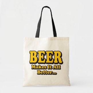 Beer Makes It Better - Funny Beer Lovers Slogan Budget Tote Bag