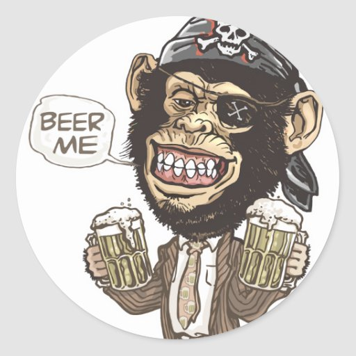 Beer Me Chimp Pirate by Mudge Studios Stickers