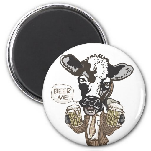 Beer Me Moo Cow by Mudge Studios Refrigerator Magnets