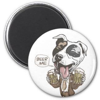 Beer Me Pit Bull by Mudge Studios 6 Cm Round Magnet