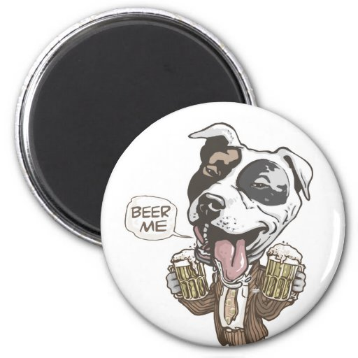 Beer Me Pit Bull by Mudge Studios Refrigerator Magnets