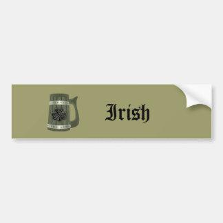 Beer mug Irish lucky shamrock Bumper Sticker