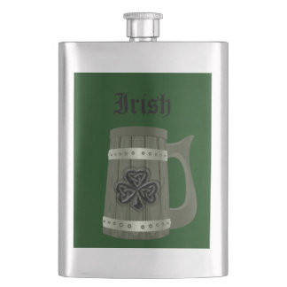 Beer mug Irish lucky shamrock Hip Flask