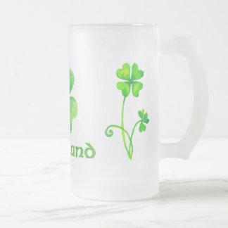 Beer mug with aquarelle shamrocks