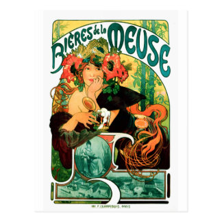 Beer of the Meuse Alphonse Mucha Fine Art Postcard