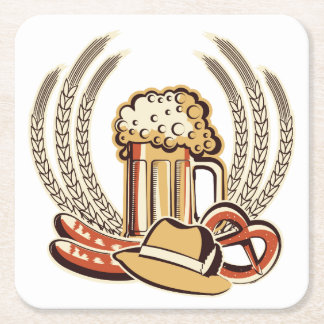 Beer Oktoberfest Graphic Square Paper Coaster