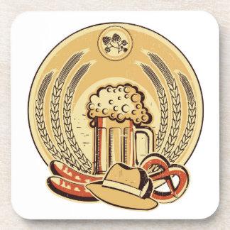 Beer Oktoberfest Label Vintage Graphic Drink Coaster