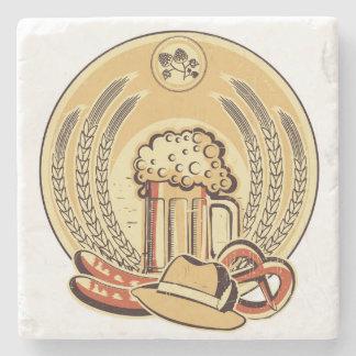 Beer Oktoberfest Label Vintage Graphic Stone Beverage Coaster