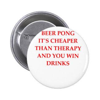 beer pong 6 cm round badge