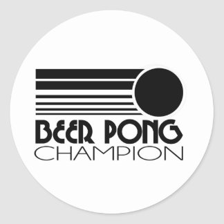 Beer Pong Champion Round Sticker
