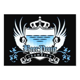 beer pong champion royal crest 13 cm x 18 cm invitation card
