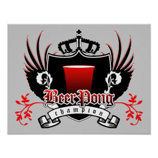 beer pong champion royal crest posters
