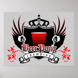 beer pong champion royal crest poster