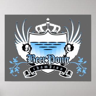 beer pong champion royal crest print