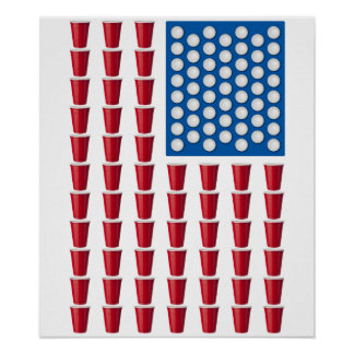 Beer Pong Drinking Game American Flag Poster