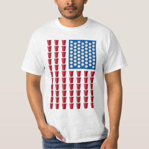 d2749afc Beer Pong Drinking Game American Flag T-Shirt