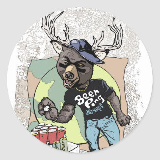 Beer? Pong Funny Beer Deer Hybrid Round Stickers