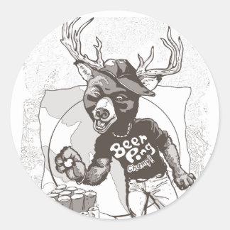 Beer Pong Funny Beer Deer Hybrid Round Sticker