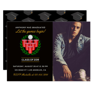Beer Pong Graduation celebration party add photo Card