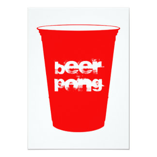 beer pong : red party cup 13 cm x 18 cm invitation card