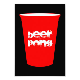 beer pong : red party cup 3.5x5 paper invitation card