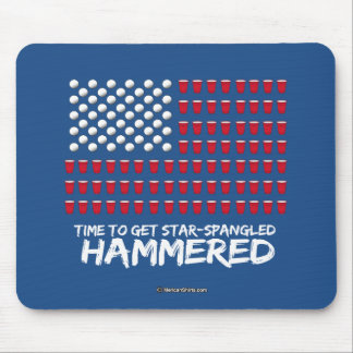 Beer Pong -Time to get star-spangled hammered Mouse Pad