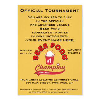 Beer Pong Tournament (Party) 13 Cm X 18 Cm Invitation Card