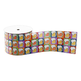 BEER Pop Art gift ribbon Grosgrain Ribbon