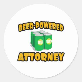 Beer-Powered Attorney Round Sticker