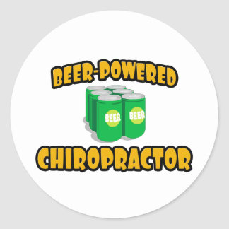 Beer-Powered Chiropractor Classic Round Sticker