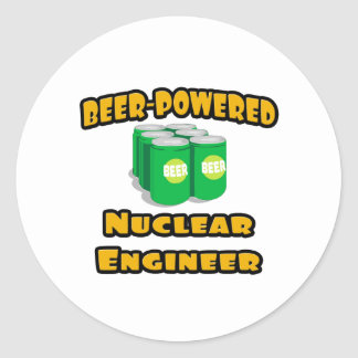 Beer-Powered Nuclear Engineer Round Sticker