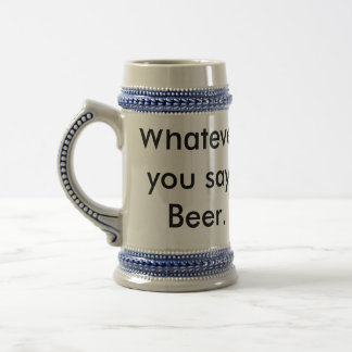 Beer quotes on gray and blue beer stein. beer stein