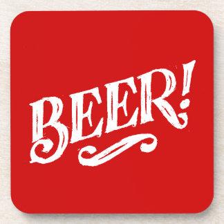 BEER SHOUTOUT RED WHITE BAR BEVERAGE ALCOHOLIC LOG BEVERAGE COASTERS