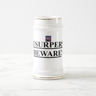 Beer Stein w/ American Eagle w/ Usurpers Beware! Beer Steins