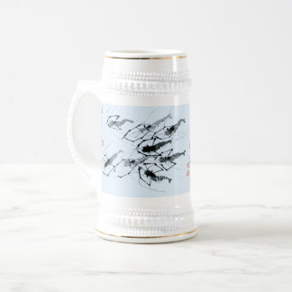Beer stein with the image of swimming shrimps