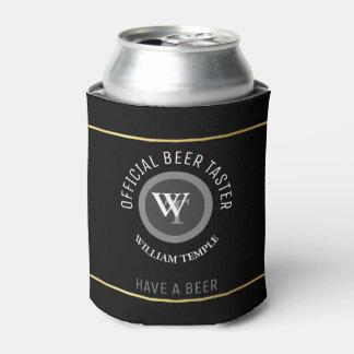 beer taster monogram (name/initials) black custom can cooler