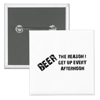 Beer The Reason I Get Up Every Afternon 15 Cm Square Badge