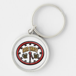 """""""Beer Thirty"""" Clock Silver-Colored Round Key Ring"""