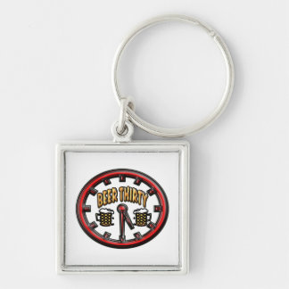 """""""Beer Thirty"""" Clock Silver-Colored Square Key Ring"""