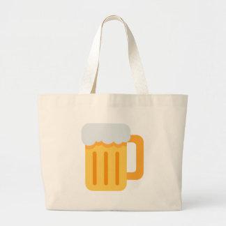 Beer time emoji large tote bag