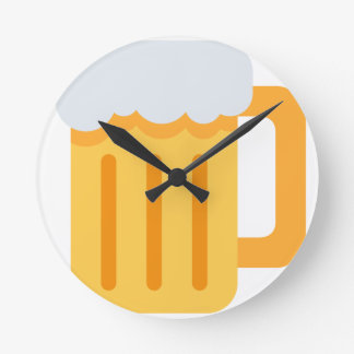 Beer time emoji round clock