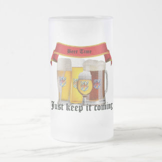 beer time frosted glass mug