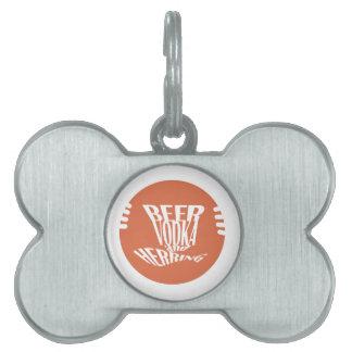 beer vodka and herring pet ID tag