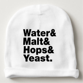 Beer = Water & Malt & Hops & Yeast. Baby Beanie