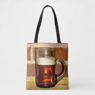 Beer with Foam in Glass Mug Tote Bag