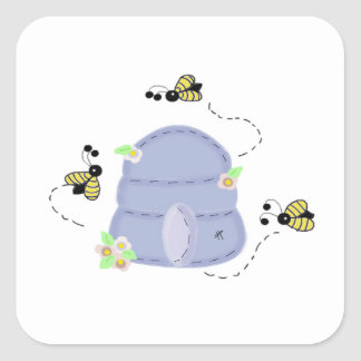 Bees and a Blue Beehive Square Sticker