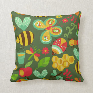 Bees and Beetle Throw Cushion