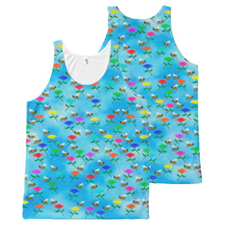 Bees and Flowers All-Over Print Singlet